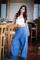 Nabha Natesh Hot Navel Show in Blue Pants
