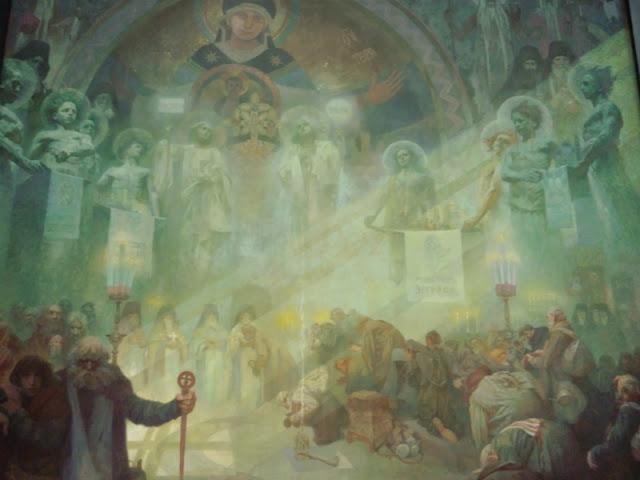 ミュシャの展示作品「聖アトス山」です。