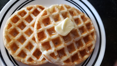 simple waffle, chocolate chip waffle, cinnamon waffle with no egg
