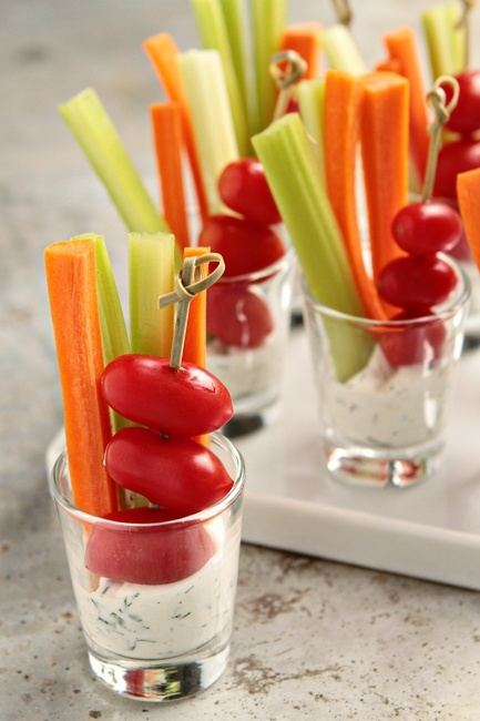 these simple veggie dip shot glasses are a party friendly treat