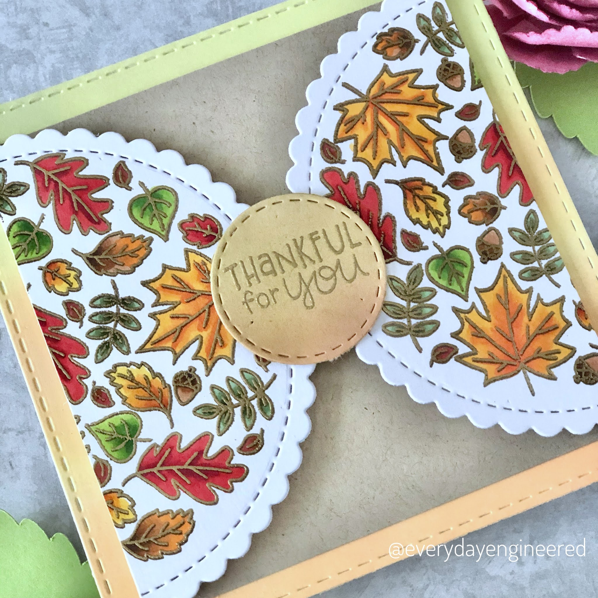 Fall Gatefold Card by October Guest Designer Farhana | Fall Roundabout Stamp Set and Circle Frames Die Set by Newton's Nook Designs #newtonsnook