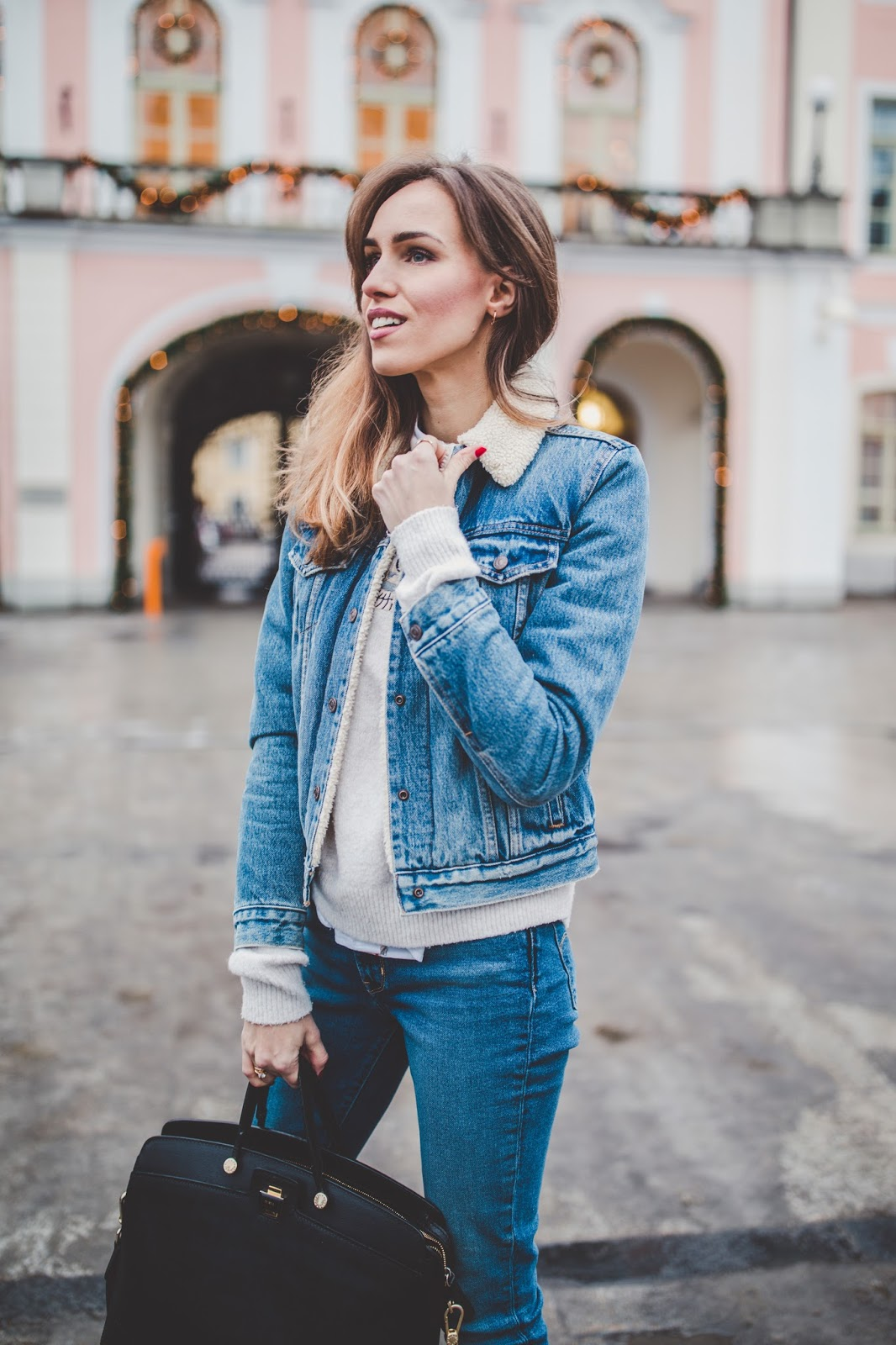 denim jacket jeans double denim winter outfit