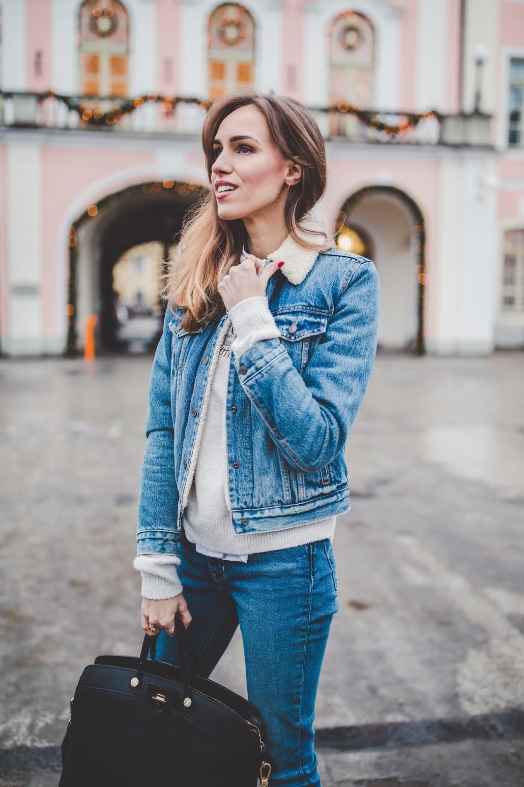 denim jacket jeans double denim winter outfit