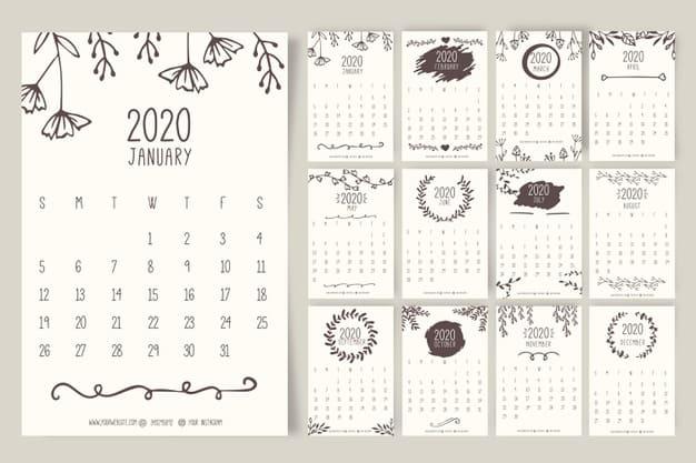 Calendario 2020 gratis con dibujos a mano