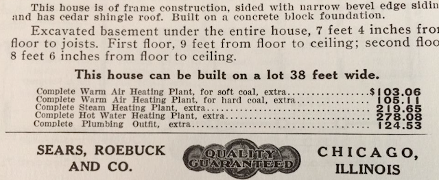 Information on Sears Model No 118 in 1912 Sears Modern Homes catalog