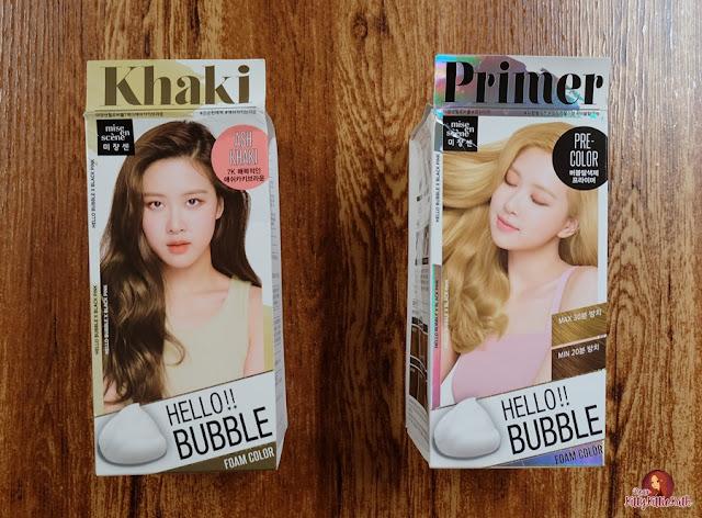 Revisão do produto: Mise en Scene Hello Bubble Foam Cor x Preto Rosa Cinza Khaki Brown (7K) e Primer (Pré-Cor) | Querida Kitty Kittie Kath 2