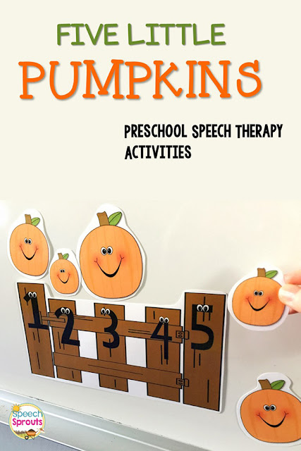 5 Pumpkin Theme Books and activities for preschool speech therapy including this Five Little Pumpkins story-telling pieces activity. #speechsprouts #preschool #speechtherapy #fall