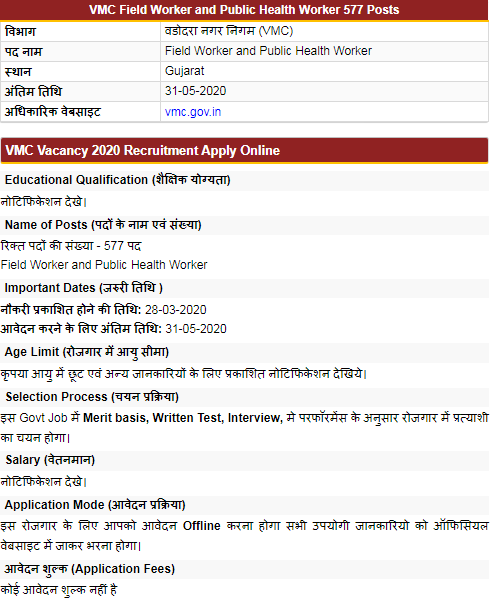 VMC Gujarat Public Health Worker Vacancy 2020