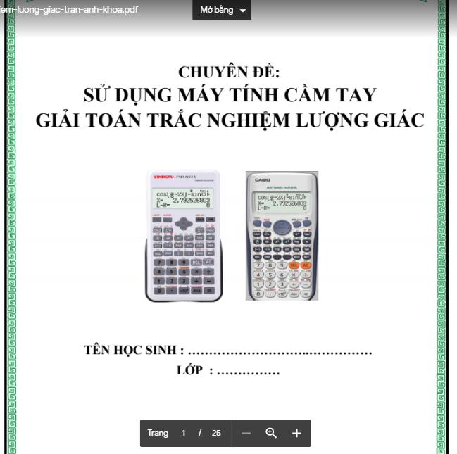 Sử dụng casio giải nhanh các dạng toán lượng giác