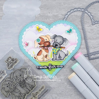 Inky Paws Challenge Friendship Theme - Puppy Pals stamp and die set, Heart Frames die set, Hills and Grass stencil, Clouds stencil, Newton's Birdbath stamp and die set, Newton's Valentine stamp and die set by Newton's Nook Designs #newtonsnook #handmade