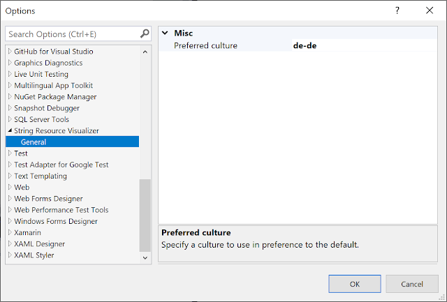 Options page for specifying the preferred culture