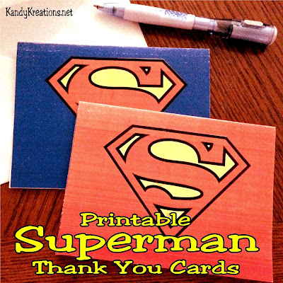 Get your kids to stop and write a thank you note with these fun printable Superman Thank You cards.  With two available to print, your kids will be superheroes in the thank you department.