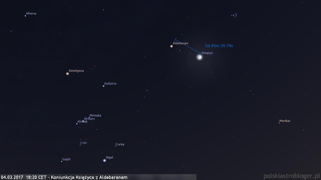 04.03.2017  18:20 CET - Koniunkcja Księżyca z Aldebaranem