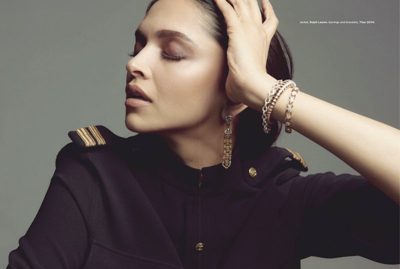 Deepika Padukone poses in Ralph Lauren jacket with Titan ZOYA jewelry