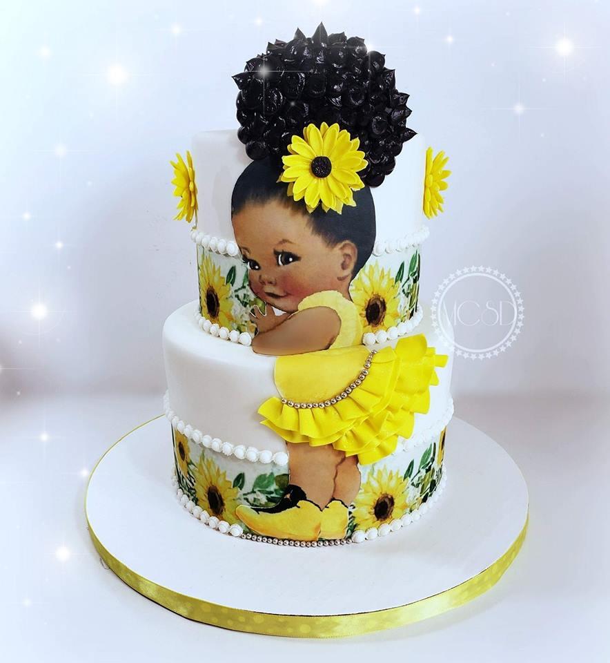 Miraculous Cakesbyzana Afro Puff Sunflower Girl Cake Funny Birthday Cards Online Necthendildamsfinfo