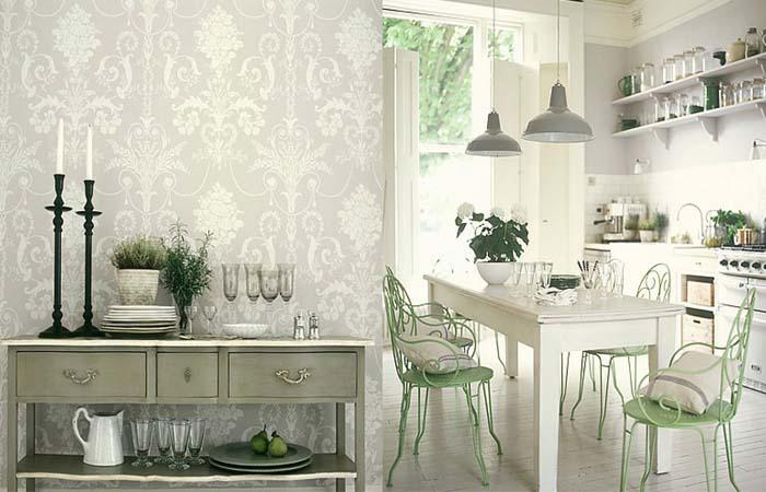 beyaz şık zarif mutfak duvar kağıdı