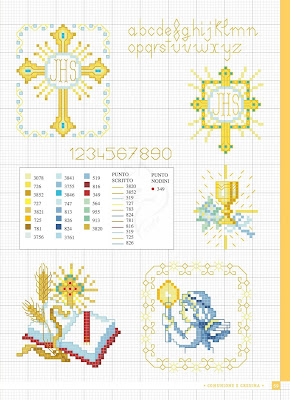 Comunione, cresima e battesimo. Cross stitch patter free