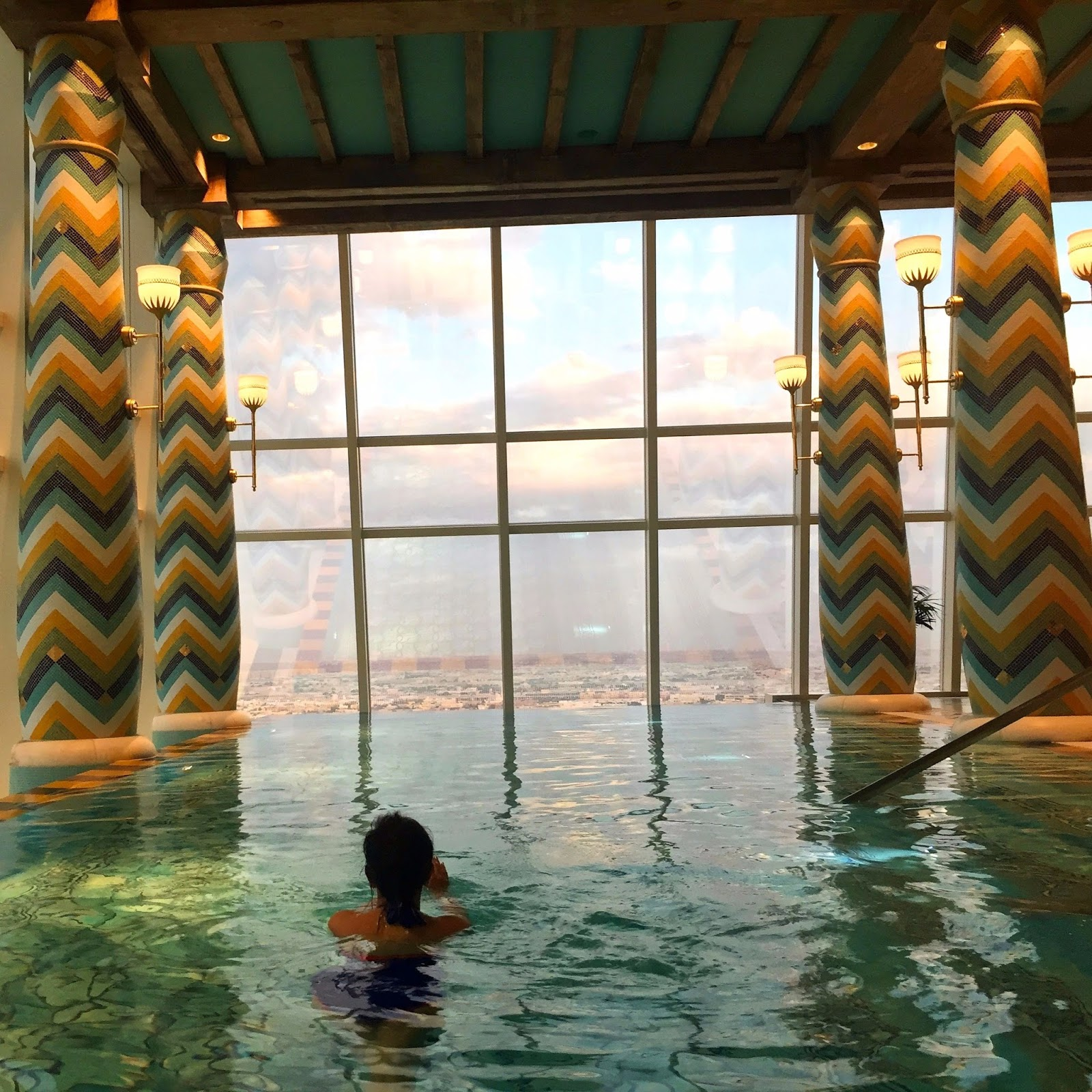 Burj Al Arab Review - Vegan Dubai Travel - Indoor Pool