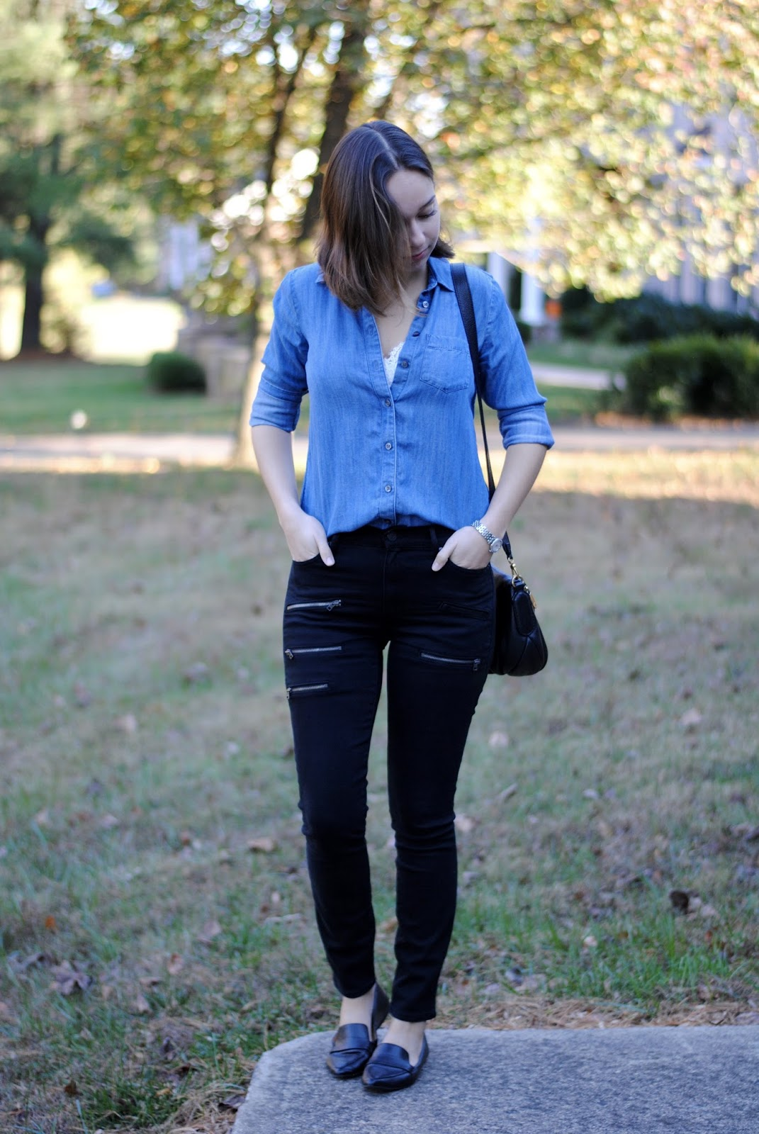 fall outfit jeans chambray