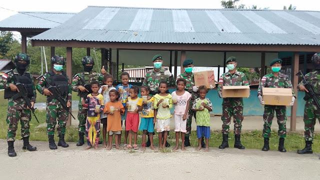 Satgas Raider 300 Peduli Kebutuhan Gizi Balita ditengah Wabah Virus Corona