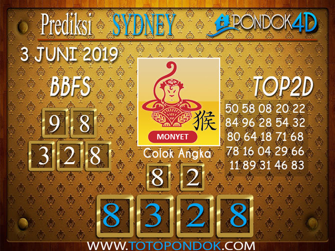 Prediksi Togel SYDNEY PONDOK4D 03 JUNI 2019