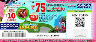 Kerala Lotteries Results 20-04-2021 Sthree Sakthi SS-257 Lottery Result