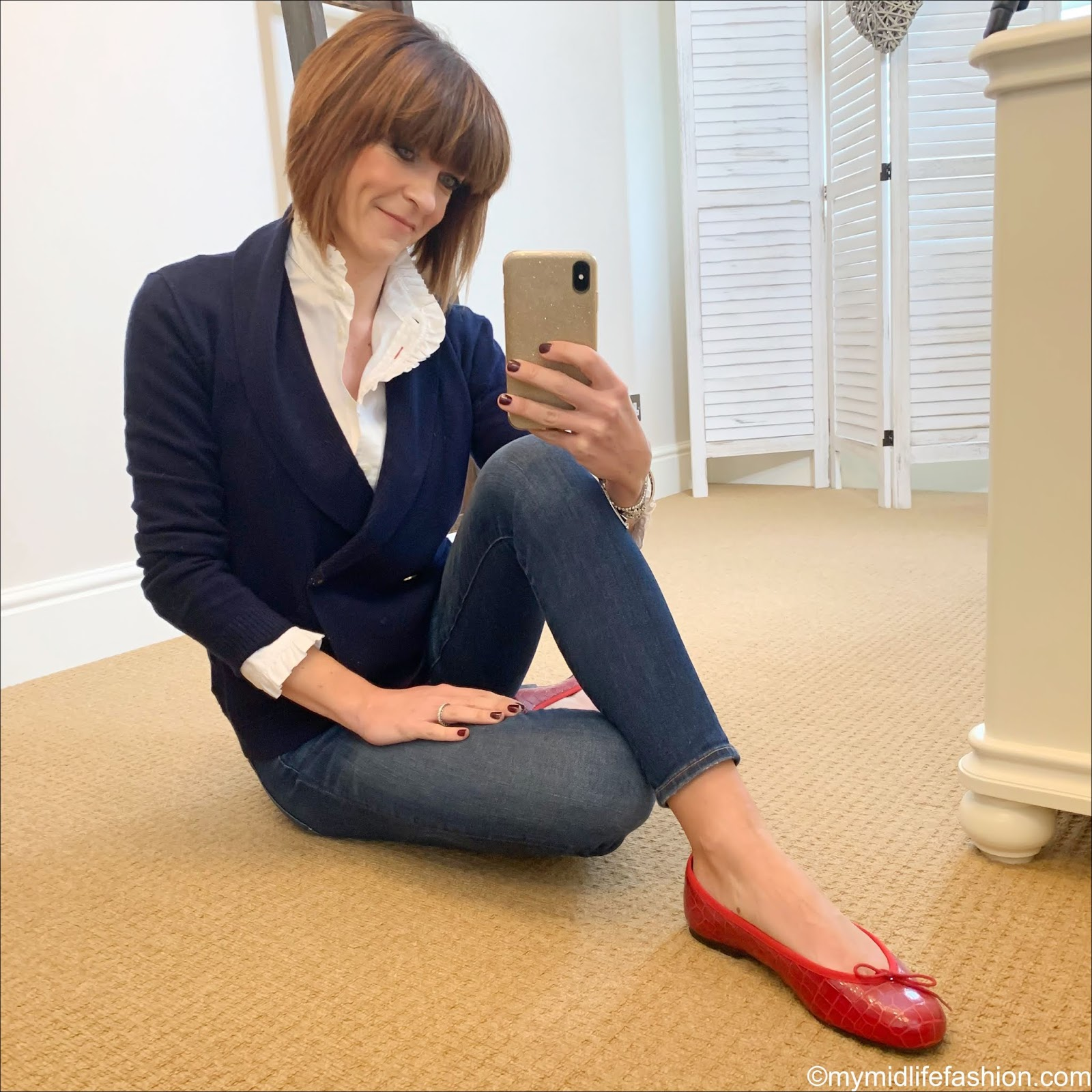 my midlife fashion, ralph lauren double breasted knitted shawl collar cardigan, uniqlo high frill collar blouse, j crew toothpick jeans, french sole red patent crocodile ballet pumps