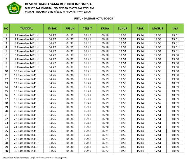 jadwal imsakiyah ramadhan buka puasa Kota Bogor 2020 m 1441 h tomatalikuang.com