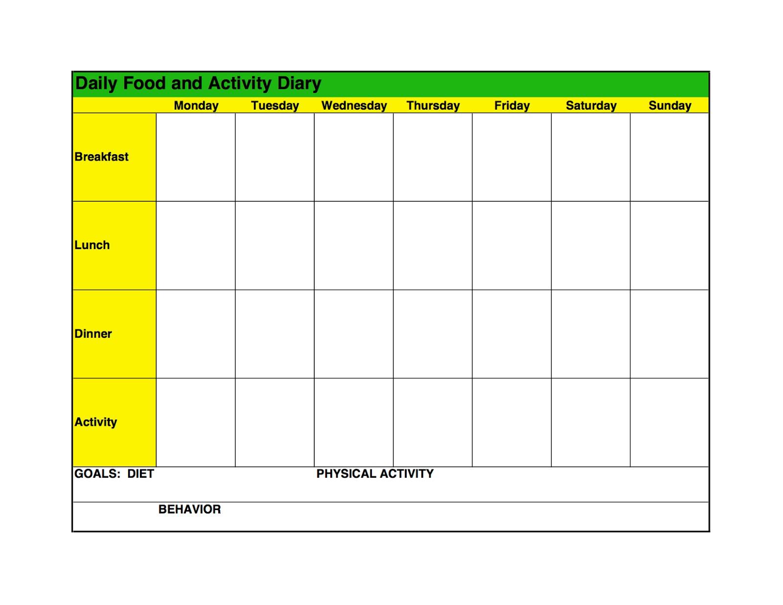 Food Log Template Printable In Excel Format