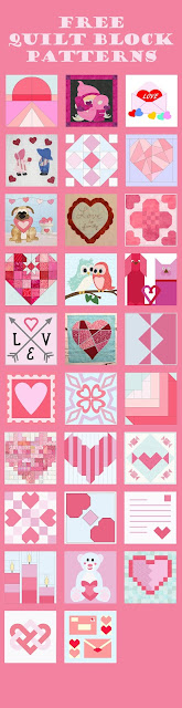 Free heart and romance quilt block patterns