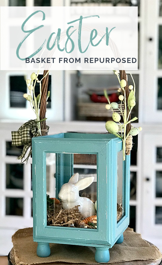 Easter basket from frames with bunny and Pinterest overlay