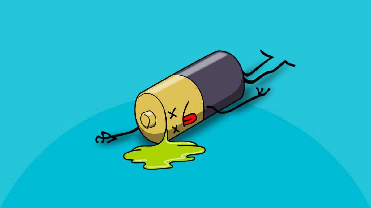 Ciri baterai bocor dan rusak