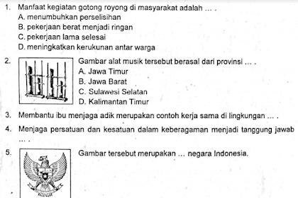 Soal Ulangan Harian Kelas 4 SD Tema 1 Kurikulum 2013
