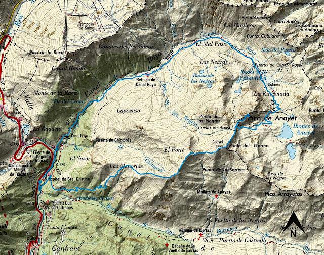 Mapa de la ruta circular al Pico Anayet.