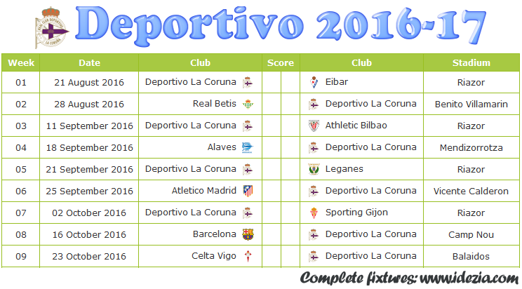 Download Jadwal Deportivo La Coruña 2016-2017 File JPG - Download Kalender Lengkap Pertandingan Deportivo La Coruña 2016-2017 File JPG - Download Deportivo La Coruña Schedule Full Fixture File JPG - Schedule with Score Coloumn