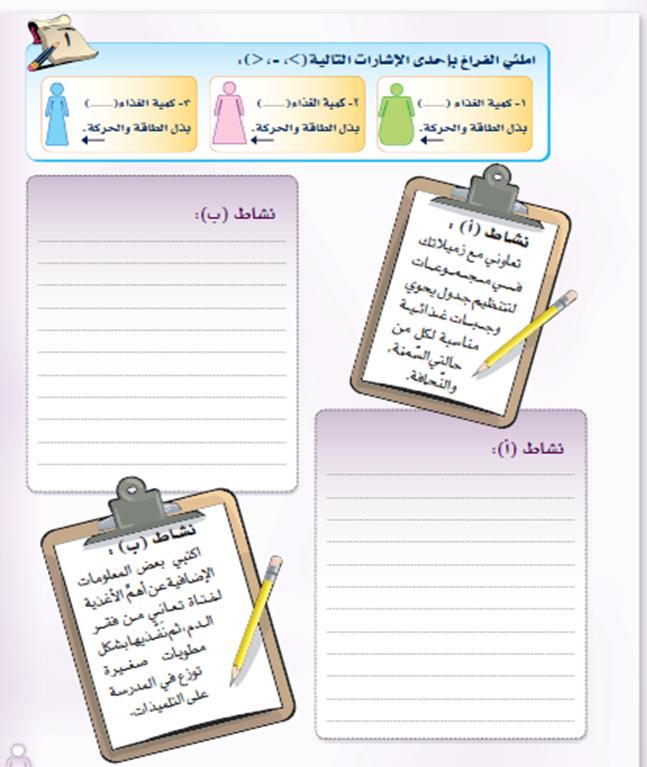 وحدة توعية صحية مادة التربية الأسرية أنشطة وتطبيقات الوحدة