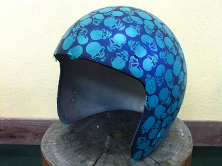 1220023291 - カスタムペイント工程  ジェットヘルメット スカル クリアースピニング
