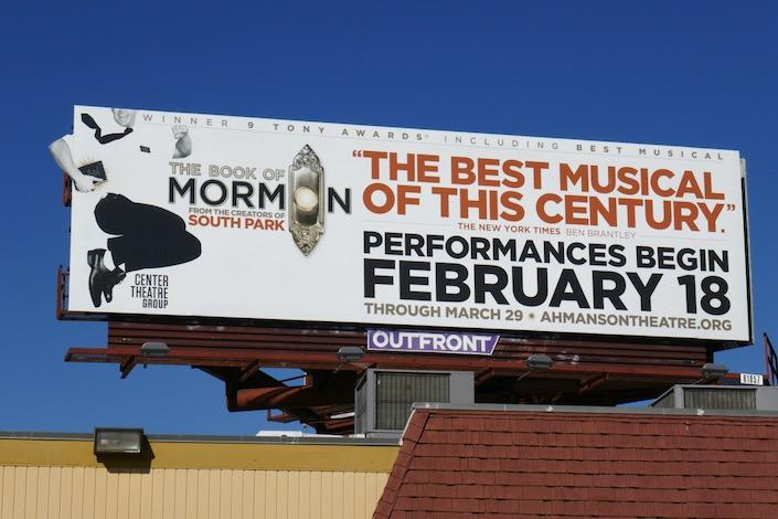 Book of Mormon musical LA 2020 billboard