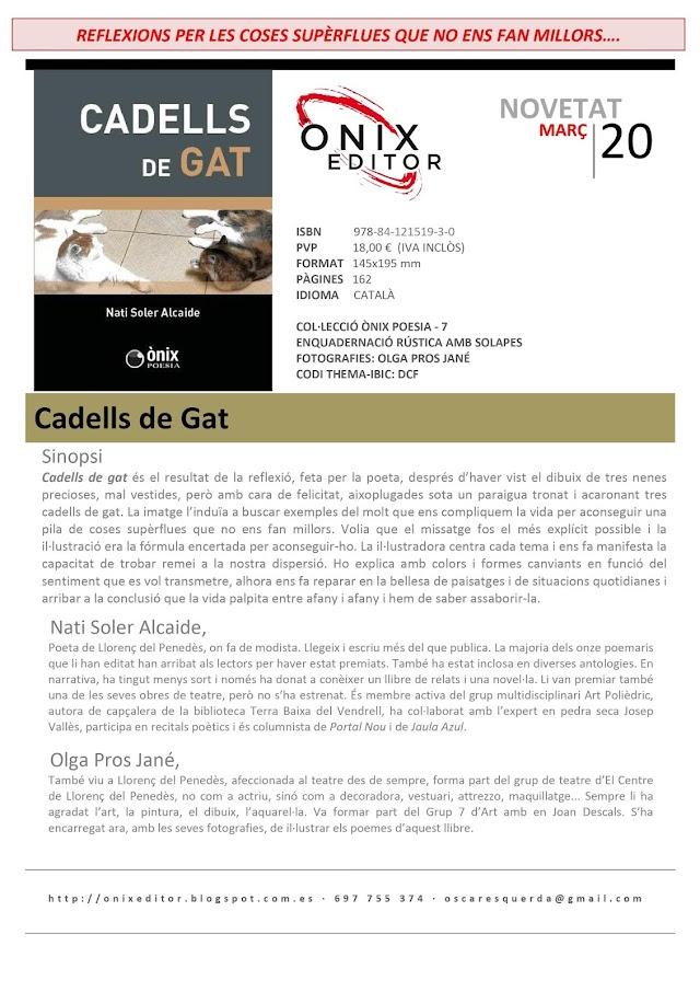 NOVEDADES EDITORIALES: CADELLS DE GAT de Nati Soler