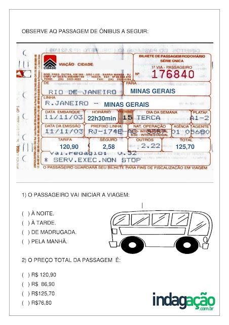 Atividade interpretação Passagem de ônibus; PDF Grátis