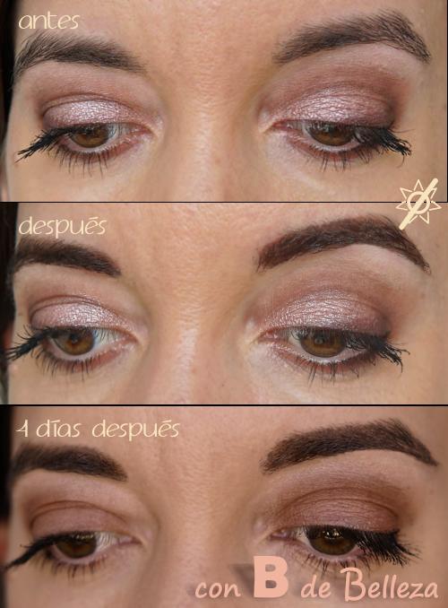 Antes y después del tinte de cejas