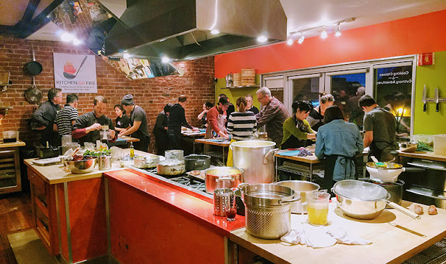 large group cooking class - kitchen on fire
