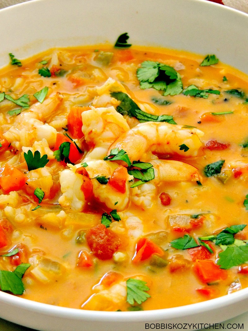 Brazilian Shrimp Stew is creamy and rich, with a touch of sweet and a little heat. #shrimp #fish #shellfish #stew #soup #cleaneating #glutenfree #dairyfree #easy #quick #healthy | bobbiskozykitchen