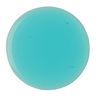 A circle of light blue-green shower gel on a bright background