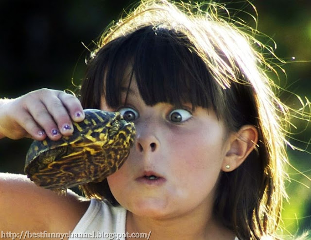 Funny girl and turtle.