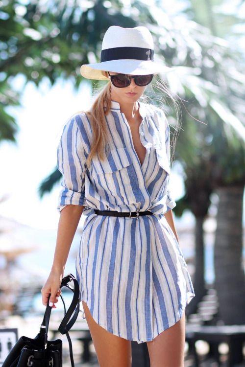 stylish look | hat + striped shirt dress + bag