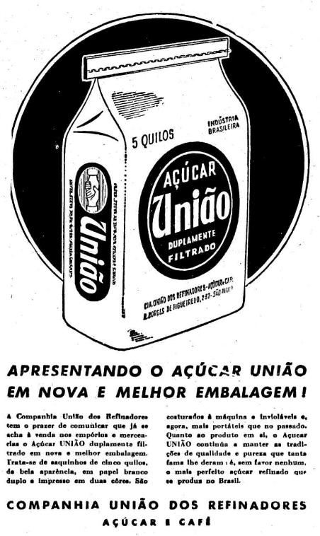 Campanha do Açúcar União apresentando sua nova embalagem no final dos anos 40