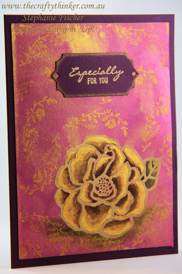 #thecraftythinker #stampinup #cardmaking #goldwatercolorbackground #beautifulday , Beautiful Day, Watercolour background with Golden Glitz, Botanical Bliss, Gold Floral card, Stampin' Up Australia Demonstrator, Stephanie Fischer, Sydney NSW