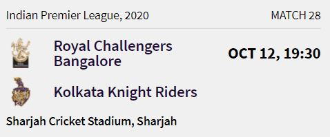 Kolkata Knight Riders match 7 ipl 2020