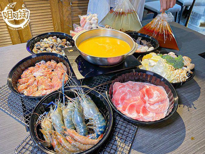 外帶5折豪華海陸火鍋,吃到嘴軟的活泰國蝦300g+新鮮蛤蜊100顆!秘漬去骨雞肉下鍋必點-野饌日式燒肉